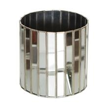 Bring A Touch of French Provencial Living To Your Indoor or Outdoor Garden Room. This Luxe Round Planter Is Finished With Faceted Antique Mirrors With Silver Edges.
