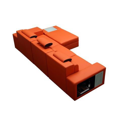 VIG Furniture - Divani Casa Polaris Mini - Contemporary Orange Bonded Leather Right Facing Sectional Sofa