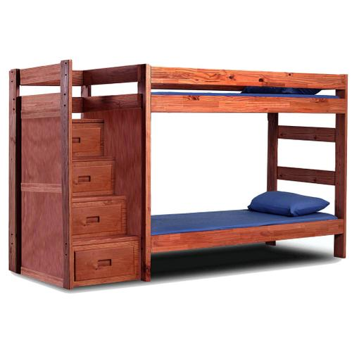 Twin/Twin Reversible Staircase Bunk Bed w/Drawers