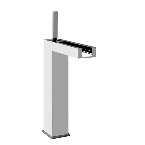 "Tall single lever washbasin mixer with pop-up assembly Spout projection 6-3/16"" Height 12-7/16"" Includes drain Max flow rate 1"