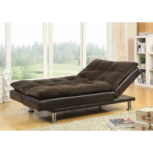 Coaster - Contemporary Overstuffed Brown and Chrome Sofa Bed