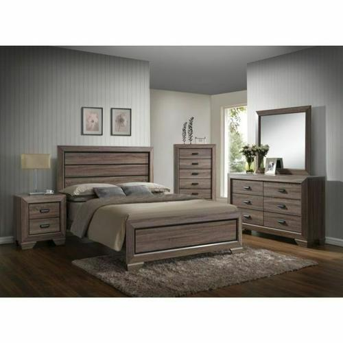 ACME Lyndon Eastern King Bed - 26017EK - Weathered Gray Grain