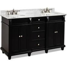 "60"" double Black vanity with Satin Nickel hardware, clean lines, tapered feet, and preassembled Carrara Marble top and 2 oval bowls"