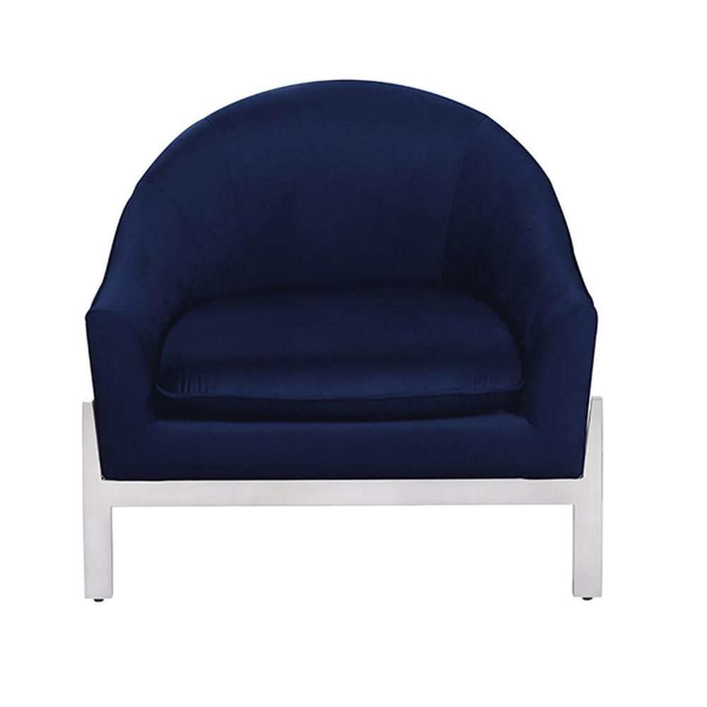 Modern Lounge Chair With Nickel Base In Navy Velvet