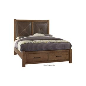 Leather Bed with Footboard Storage (amber finish shown)