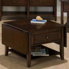 View Product - Drop-leaf Cocktail Table W/ Pull-thru Drawer (closed: 26x26)