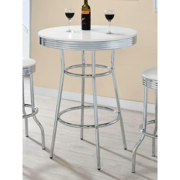See Details - White Contemporary Round Bar Table