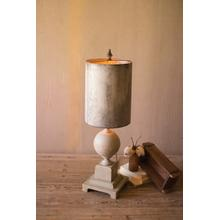 See Details - table lamp \ wood and metal base with tall metal shade