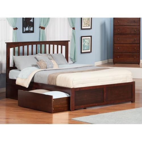 Atlantic Furniture - Mission Queen Flat Panel Foot Board with 2 Urban Bed Drawers Walnut