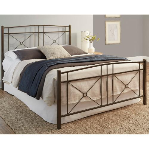 Fashion Bed Group - Russett Complete Metal Bed and Steel Support Frame with Modest Sloping Top Rails, Liquid Bronze Finish, Queen