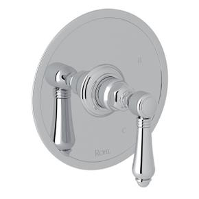 Polished Chrome Italian Bath Pressure Balance Trim Without Diverter with Metal Lever