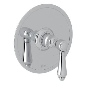 Polished Chrome Italian Bath Pressure Balance Trim Without Diverter with Metal Lever Product Image