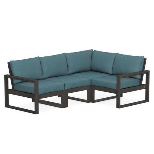 Polywood Furnishings - EDGE 4-Piece Modular Deep Seating Set in Vintage Coffee / Ocean Teal