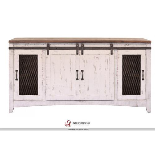 Pueblo TV Stand w/4 Doors White