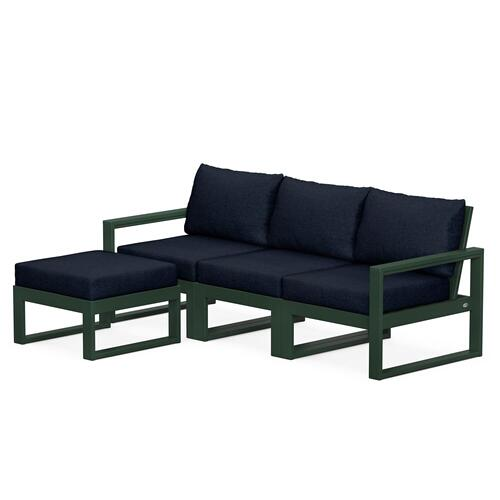 Polywood Furnishings - EDGE 4-Piece Modular Deep Seating Set with Ottoman in Green / Marine Indigo