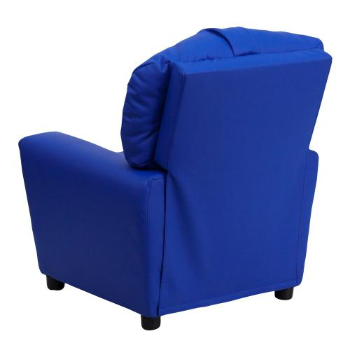 Alamont Furniture - Contemporary Blue Vinyl Kids Recliner with Cup Holder