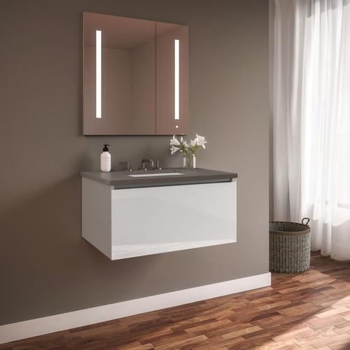 """Curated Cartesian 30"""" X 15"""" X 21"""" Single Drawer Vanity In White Glass With Slow-close Plumbing Drawer and Engineered Stone 31"""" Vanity Top In Stone Gray (silestone Expo Grey)"""