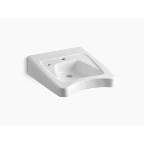 """White 20"""" X 27"""" Wall-mount/concealed Arm Carrier Wheelchair Bathroom Sink With Single Faucet Hole and Left-hand Soap Dispenser Hole"""