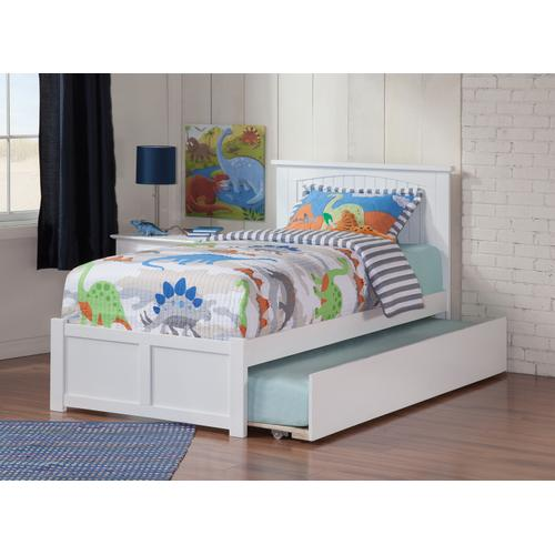 Nantucket Twin Flat Panel Foot Board with Urban Trundle Bed White