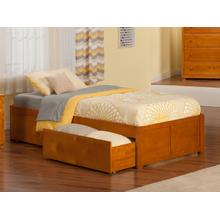 Concord Twin Flat Panel Foot Board with 2 Urban Bed Drawers Caramel Latte