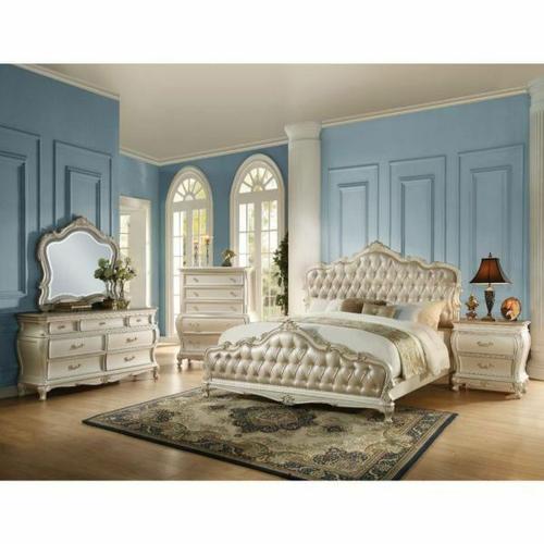ACME Chantelle Eastern King Bed - 23537EK - Rose Gold PU & Pearl White