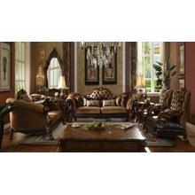 ACME Dresden Sofa w/7 Pillows - 52095 - Golden Brown Velvet & Cherry Oak