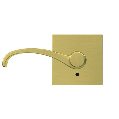 Custom Whitney Lever with Collins Trim Hall-Closet and Bed-Bath Lock - Satin Brass
