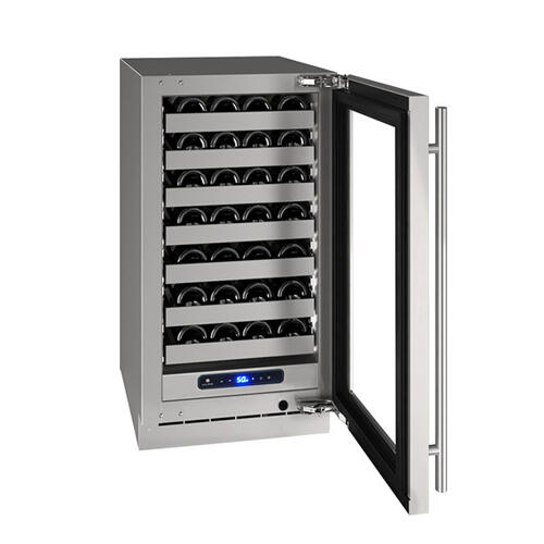 """Hwc518 18"""" Wine Refrigerator With Stainless Frame Finish and Left-hand Hinge Door Swing (115 V/60 Hz Volts /60 Hz Hz)"""