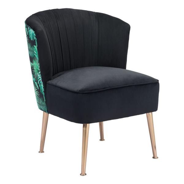 See Details - Tonya Accent Chair Black, Gold & Tropical Print