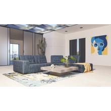 View Product - Accenti Italia Enjoy - Italian Modern Dark Blue Leather Right Facing Sectional Sofa