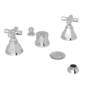 Polished Chrome Palladian 5-Hole Bidet Faucet with Cross Handle Product Image