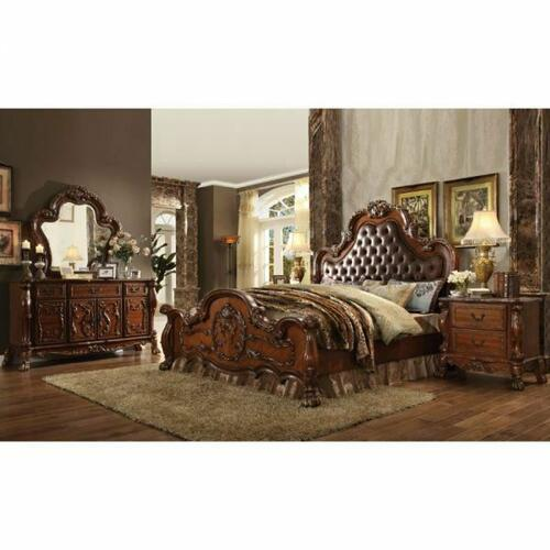 ACME Dresden Eastern King Bed - 23137EK - PU & Cherry Oak