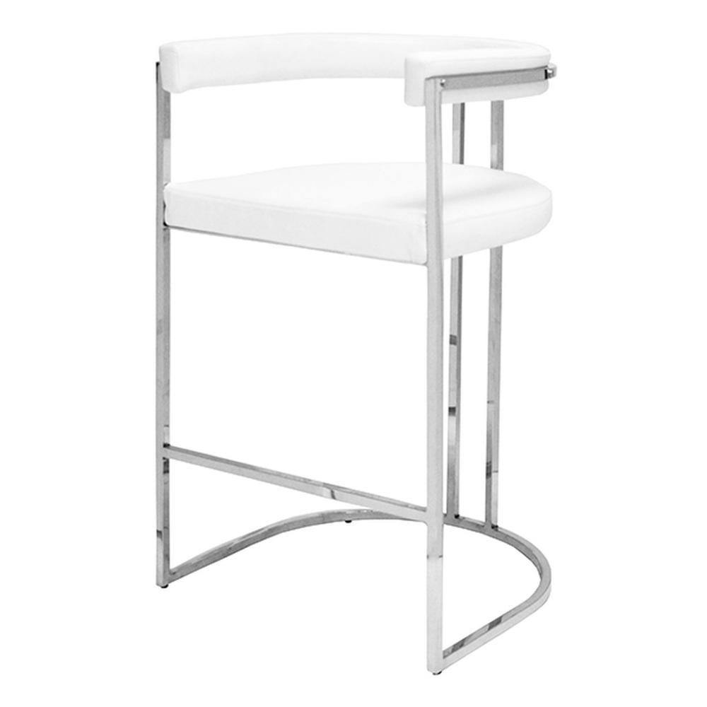 Airy, Refined, and Reminiscent of Old Hollywood, the Donovan Barrel Back Barstool Delivers A Shot of Modern Glam To Your Kitchen Island. Versatile White Vinyl Upholstery Rests Gently On A Polished Nickel Frame.