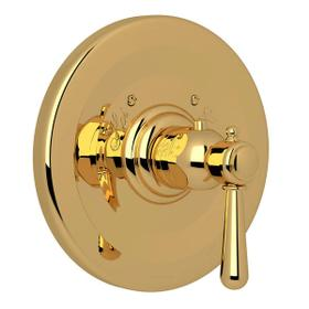 Verona Thermostatic Trim Plate without Volume Control - Italian Brass with Metal Lever Handle