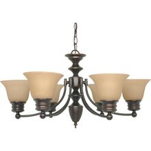 Empire - 6 Light Chandelier with Champagne Linen Washed Glass - Mahogany Bronze Finish