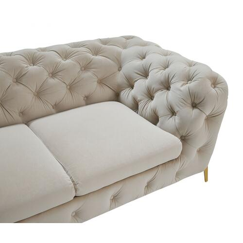 VIG Furniture - Divani Casa Quincey - Transitional Beige Velvet Sofa