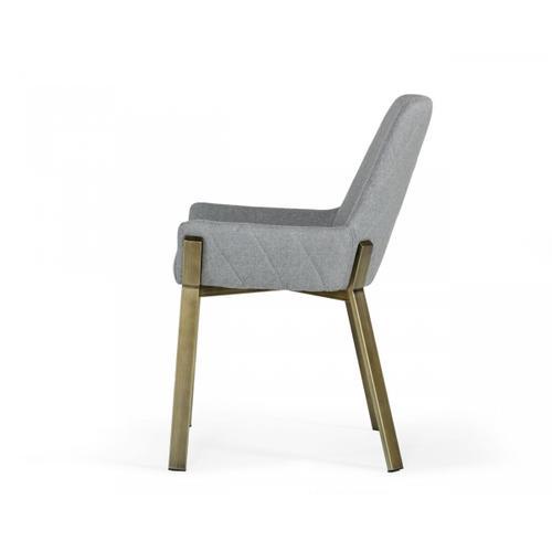 VIG Furniture - Modrest Ganon - Modern Grey & Antique Brass Dining Chair