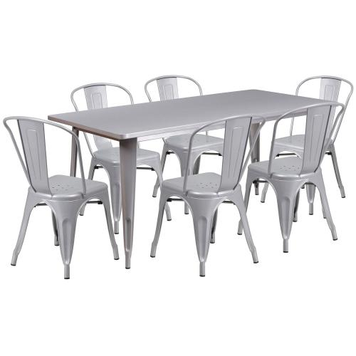 31.5'' x 63'' Rectangular Silver Metal Indoor-Outdoor Table Set with 6 Stack Chairs