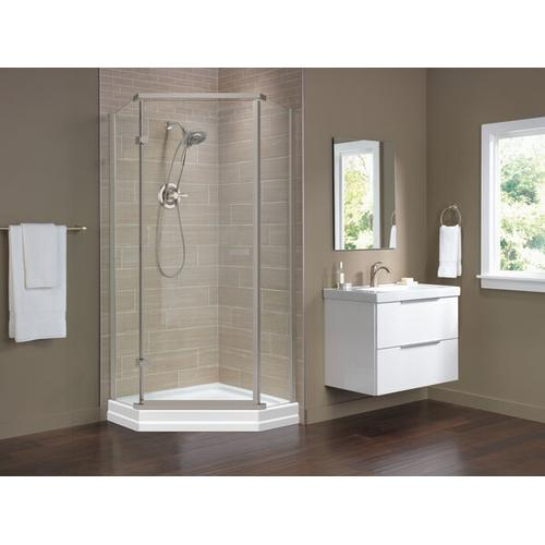 """Stainless 38"""" Frameless Neo Angle Shower Enclosure"""