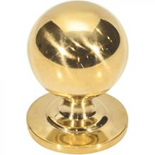 View Product - Divina Round Smooth Knob 1 1/8 Inch Unlacquered Brass Unlacquered Brass