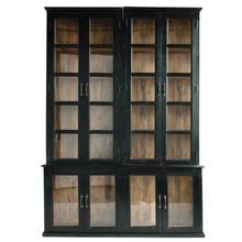 "See Details - 63""L x 11""D x 87""H Wood & Glass 2-Piece Cabinet w/ Doors & 8 Shelves, Black Finish"