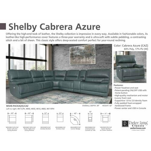 SHELBY - CABRERA AZURE Power Left Arm Facing Recliner
