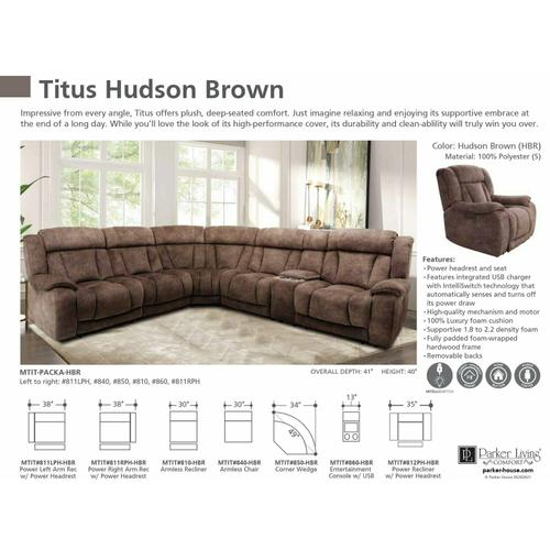 Parker House - TITUS - HUDSON BROWN Power Right Arm Facing Recliner