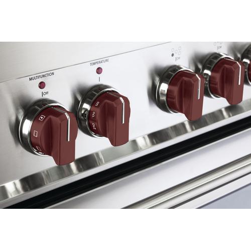 Color Knob Set for Designer Single Oven Electric Range - Burgundy