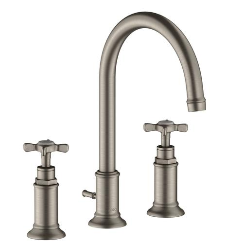 Stainless Steel Optic 3-hole basin mixer 180 with cross handles and pop-up waste set