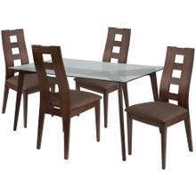 5 Piece Espresso Wood Dining Table Set with Glass Top and Window Pane Back Wood Dining Chairs - Padded Seats
