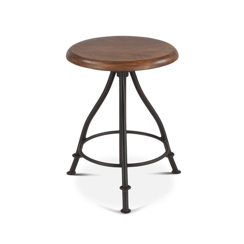 Industrial Loft Adjustable Stool in Walnut
