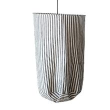 "20"" Round x 28""H Fabric Pendant Lamp, Black & White Stripe (150 Watt Bulb Maximum, Hardwire Only)"