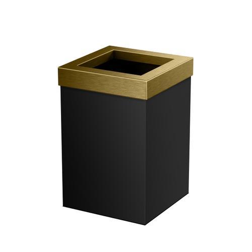 Square Modern Waste Basket in Matte Black/Brushed Brass