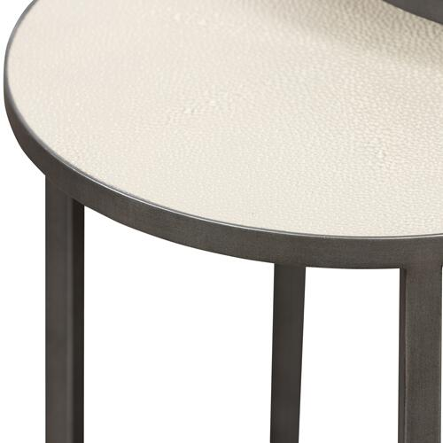 Brushed Gunmetal Finish Shagreen Nesting Table